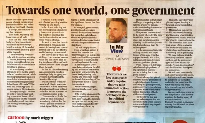 Toward one World, One Goverment 15 April 2020